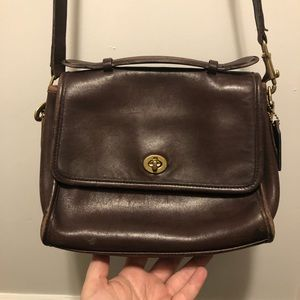 Vintage COACH espresso brown leather purse
